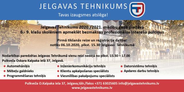 Bezmaksas profesionālie interešu pulciņi Jelgavas Tehnikumā