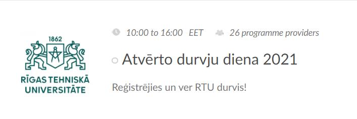 Aicinām piedalīties RTU Atvērto durvju dienā 26. februārī