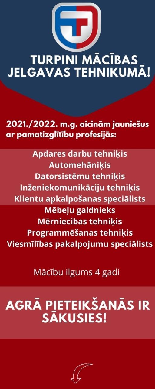 Turpini izglītību Jelgavas tehnikumā