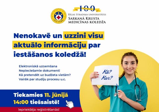 RSU Sarkanā Krusta medicīnas koledža aicina uz tikšanos tiešsaistē