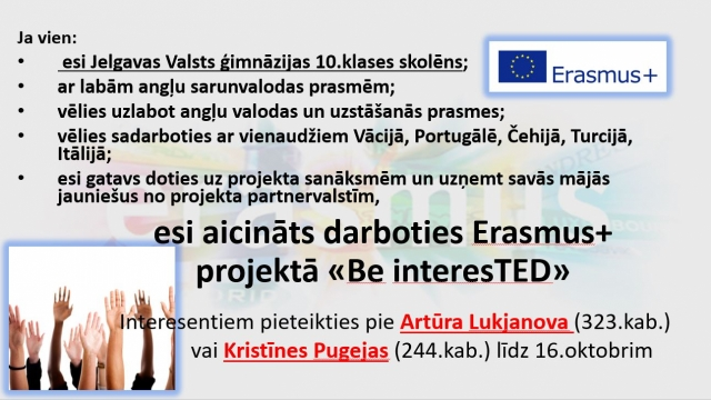 """Aicinājums darboties Erasmus+ projektā """"Be interesTED"""""""