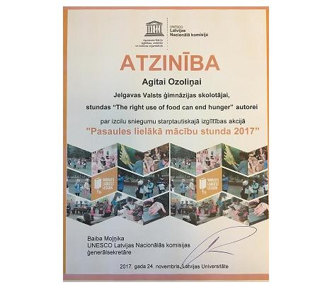 Pasaules lielākā mācību stunda Jelgavas Valsts ģimnāzijā 2017