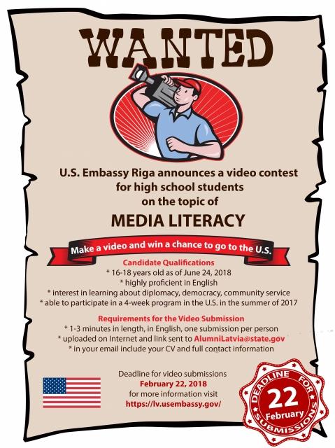 ASV vēstniecība Latvijā izsludina videokonkursu vidusskolēniem (pieteikšanās beigu termiņš 22.02.18)