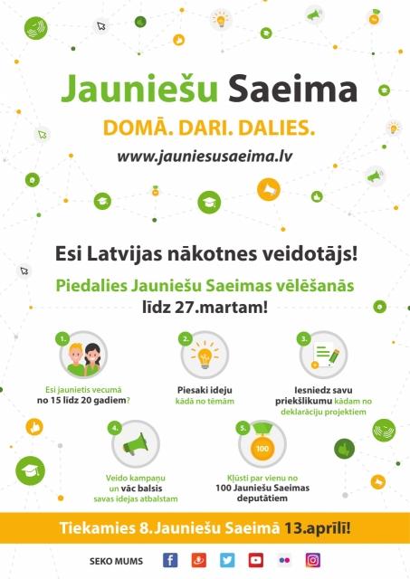 Piesakies Jauniešu Saeimai, un Tev pavērsies jaunas iespējas!