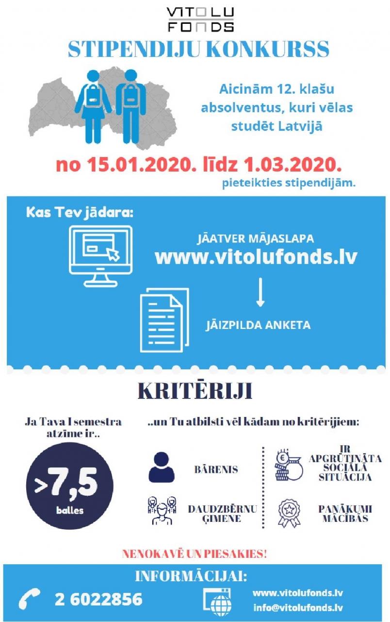 Aicinām pieteikties Vītolu fonda administrētajām stipendijām