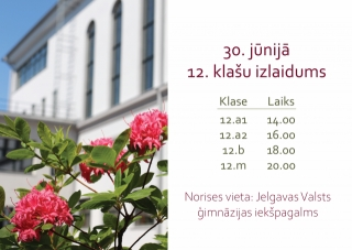 30. jūnijā 12. klašu izlaidums